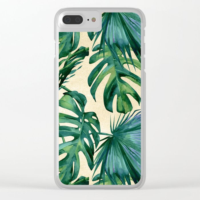 Tropical Island Republic Green on Linen Clear iPhone Case