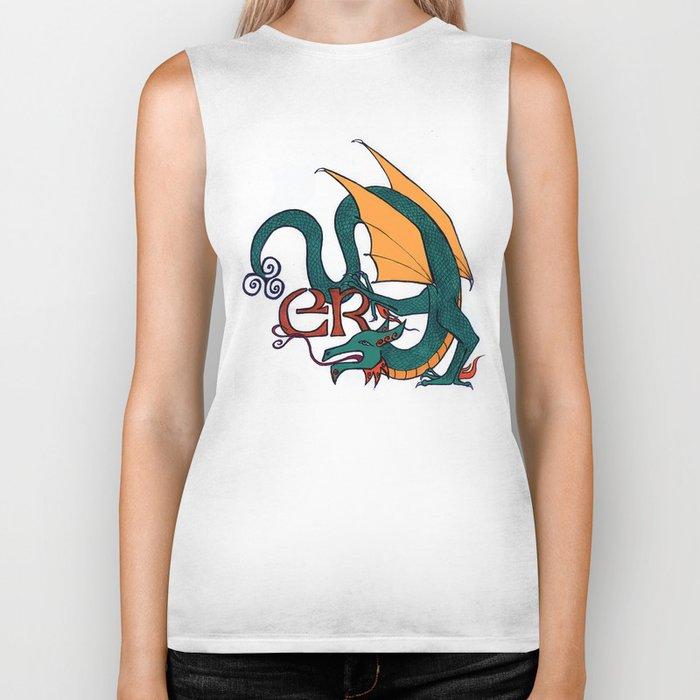 Celt Dragon - Dark Green, Yellow Wings Biker Tank