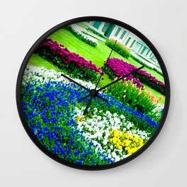 Multicolored tulips. Wall Clock