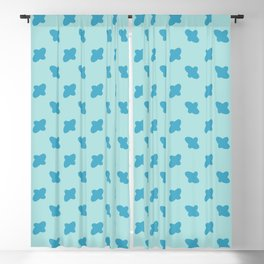 Vector cross embroidery blue stitches aligned on blue background, seamless pattern Blackout Curtain