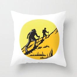 Hikers Hiking Up Steep Trail Circle Woodcut Throw Pillow