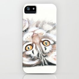 Cute Maine Coon Kitten Playing iPhone Case