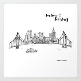Ink Sketch Pittsburgh Skyline Art Print