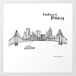 Ink Sketch Pittsburgh Skyline Art Print
