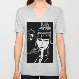 Mystical Black and White Drawing: 'The Queen' Unisex V-Neck