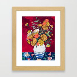 Marigold, Daisy and Wildflower Bouquet Fall Floral Still Life Painting on Eggplant Purple Framed Art Print