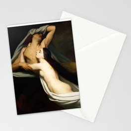 Dante and Virgil Encountering the Shades of Francesca de Rimini and Paolo in the Underworld Stationery Cards