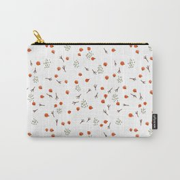 Seamless pattern with red berries and bird tracks on a white background. Carry-All Pouch