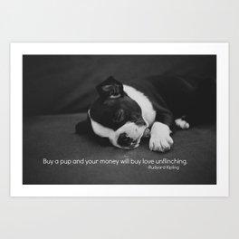 Puppy Love Rudyard Kipling Quote Art Print