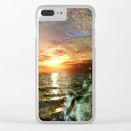 Florida Sunset Reflected In Abalone Shell Clear iPhone Case