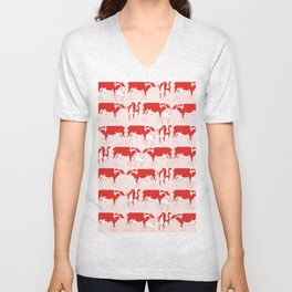 Pattern with retro red cows, retro pattern and colours Unisex V-Neck