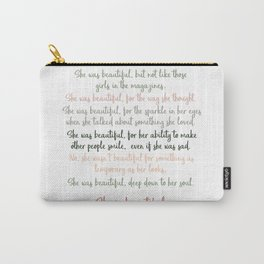 She Was Beautiful By F. Scott Fitzgerald 3 #minimalism #poem Carry-All Pouch