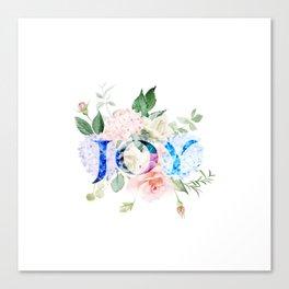 Joy Floral Typography Watercolor Hydrangea Pattern Canvas Print