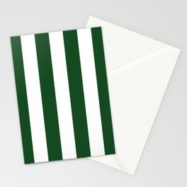 Jumbo Forest Green and White Rustic Vertical Cabana Stripes Stationery Cards
