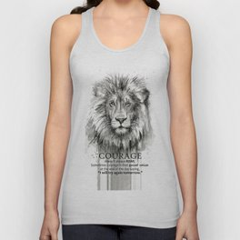 Lion Courage Motivational Quote Watercolor Painting Unisex Tank Top