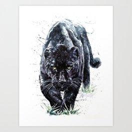 Panther watercolor painting predator animals puma Art Print
