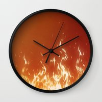 gold Wall Clocks featuring FIREEE! by Dr. Lukas Brezak