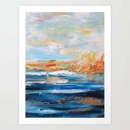 Sailboats and Golden Rays filling the Sea Gold Art Print