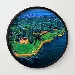Newport, Rhode Island Cliff Walk landscape painting Wall Clock