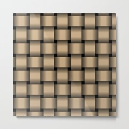 Large Tan Brown Weave Metal Print