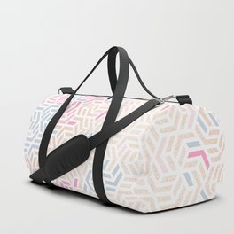 Pastel Deco Hexagon Pattern - Gold, pink & grey #pastelvibes #pattern #deco Duffle Bag