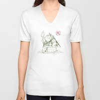 warrior V-neck T-shirts featuring Warrior by pigboom el crapo