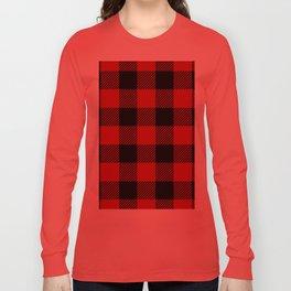 Western Country Woodland Christmas Cottage Primitive lumberjack Buffalo Plaid Long Sleeve T-shirt