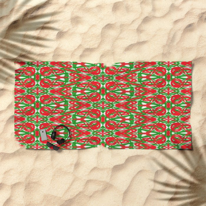 Red, Green and White Kaleidoscope 3375 Beach Towel