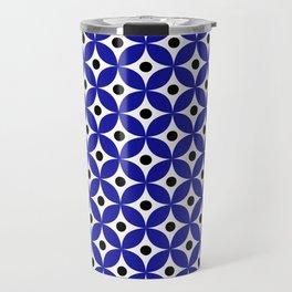 Blue, black and white elegant tile ornament pattern Travel Mug