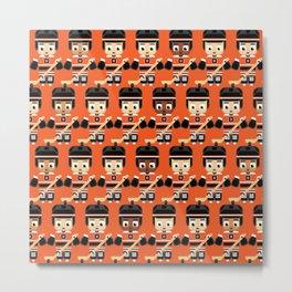 Super cute sports stars - Ice Hockey Orange Metal Print