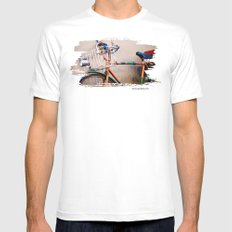 I want to ride my bicycle MEDIUM Mens Fitted Tee White