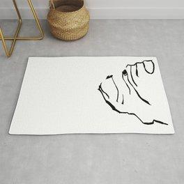 English Bulldog dog print black white  Rug
