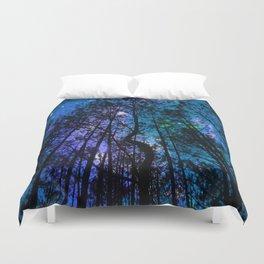 Black Trees Teal Purple Space Duvet Cover
