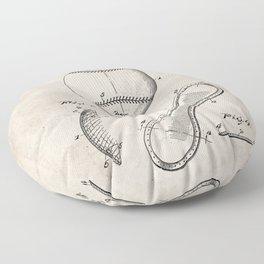Baseball Patent - Softball Art - Antique Floor Pillow