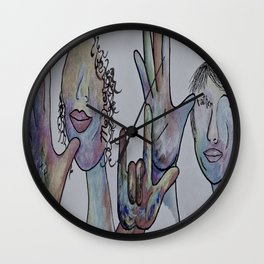 Mother Father I Love You in Denim Colors Wall Clock