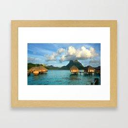 Bora Bora Tahiti Bungalow Framed Art Print