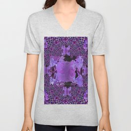 Amethyst Purple Square Gems February Birthstones Unisex V-Neck
