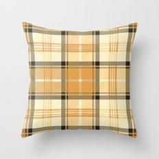 Gold Tartan Throw Pillow