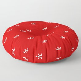 White Crown pattern on Red background Floor Pillow