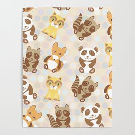 Funny cute raccoon, panda, fox, cat on dot background Poster