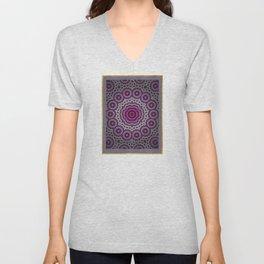 Purple abstract flowers kaleidoscope Unisex V-Neck