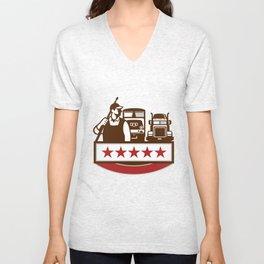 Power Washer Worker Truck Train Stars Retro Unisex V-Neck