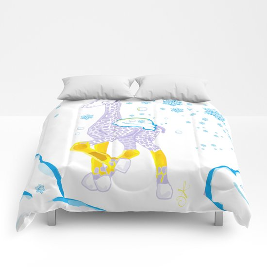 Winter is Coming - Midas is Ready - Christmas Lavender Giraffe Comforters
