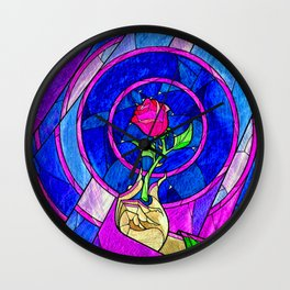 Beauty And The Beast Red Rose Flower Wall Clock