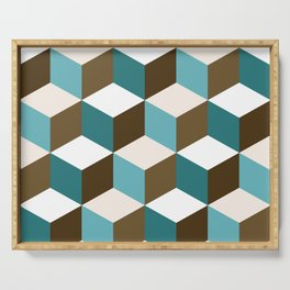 Cubes Pattern Teals Browns Cream White Serving Tray