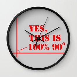 This angle is 100 percent 90 degrees Wall Clock