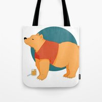 pooh Tote Bags featuring Pooh Bear by Ray Elaine
