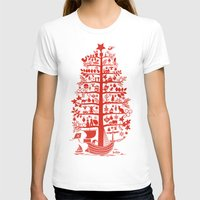 blankets T-shirts featuring CHRISTMAS TREE red ITINERANT by Chicca Besso