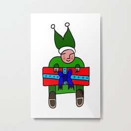 Elf with a Gift for Christmas Metal Print