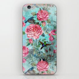 Vintage Watercolor hummingbird and English Roses iPhone Skin